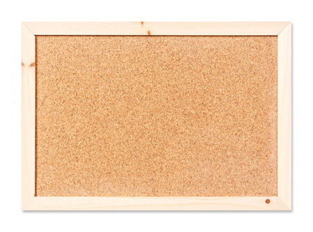 Close up blank corkboard isolated on white with path photo