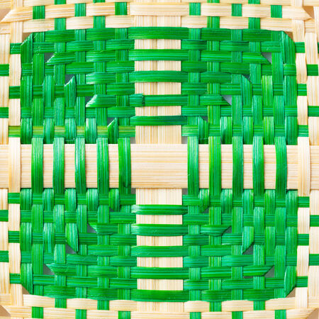 Close up green and natural color weaved bamboo texture photo