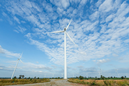 conservation: Big turbines generators in wind farm from Thailand Stock Photo