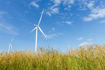 renewable energy resources: Big turbines generators in wind farm from Thailand Stock Photo