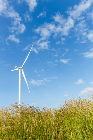 energy fields: Big turbines generators in wind farm from Thailand Stock Photo