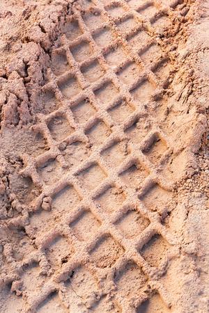 marshy: Close up tyre tracks on marshy road