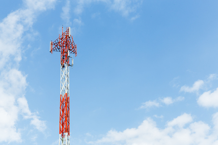 angle bar: Close up red and white color antenna repeater tower on blue sky