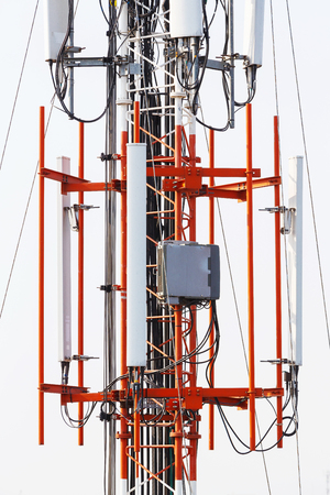 repeater: Close up antenna repeater cell tower in city Stock Photo