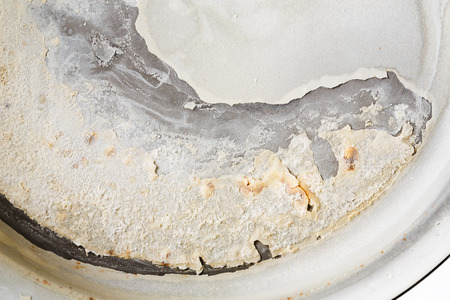stainless steel pot: Close up carbonate scale in bottom of stainless steel pot Stock Photo