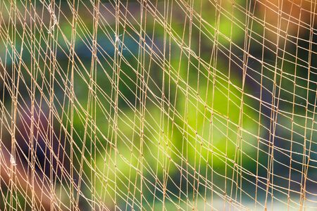 fishingnet: Close up fishing net against sun light with blur green background