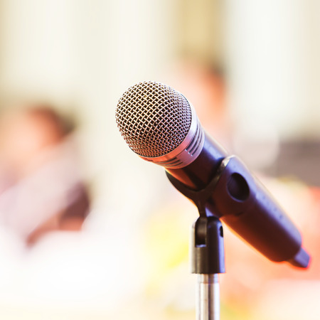 Close up old wireless microphone in conference room, meeting, seminar 스톡 콘텐츠