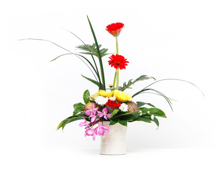 xanadu: Close up flower bouquet in ceramic pot isolated on white, vanda, gerbera, orchid, pong pong seeds