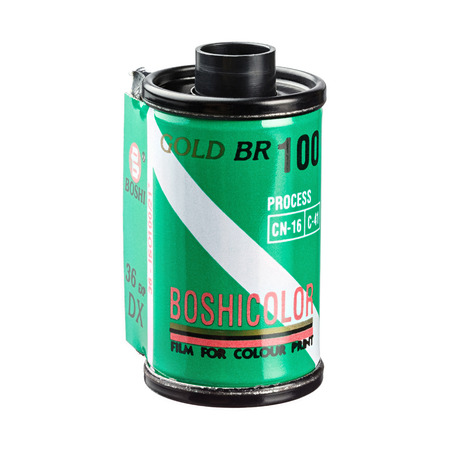 35 mm: Bangkok,Thailand, May 21, 2015 : Old and dirty BOSHICOLOR 35 mm color negative print film cartridge isolated on white background, iso 100,36 exposure Editorial