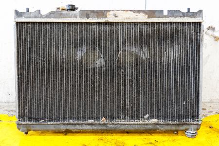 Close up dirty stain on leaky car radiator, automotive maintenance service Reklamní fotografie