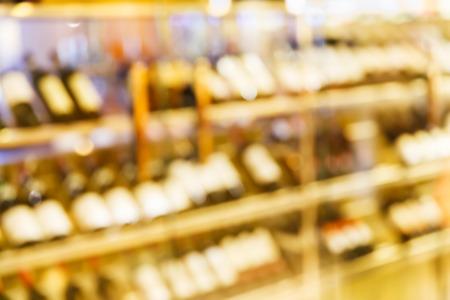 wine stocks: Abstract blurred wine cellar cabinet in luxury restaurant Stock Photo