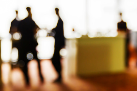 conference meeting: Abstract blurred people in press conference event, business concept Stock Photo