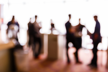 Abstract blurred people in press conference event, business concept 스톡 콘텐츠