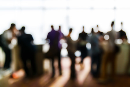 Abstract blurred people in press conference event, business concept Banco de Imagens