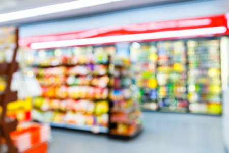 grocery shelves: Blurred convenience store, lifestyle shopping concept Stock Photo
