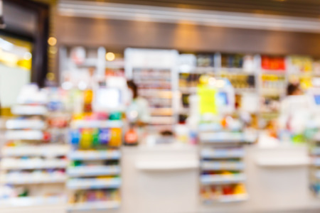 food store: Blurred convenience store, lifestyle shopping concept Stock Photo