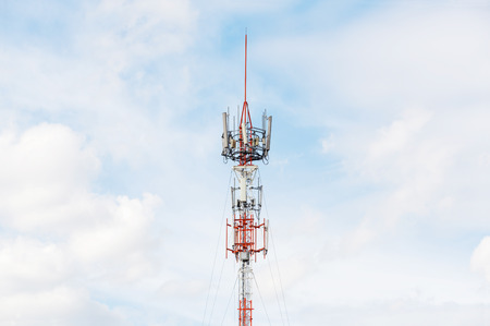 repeater: Antenna repeater tower on blue sky and white cloud, telecommunication concept