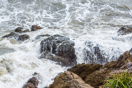 churning: Stop action churning sea water with high shutter speed