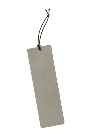 isolated on gray: Close up blank gray color hanging tag isolated on white Stock Photo