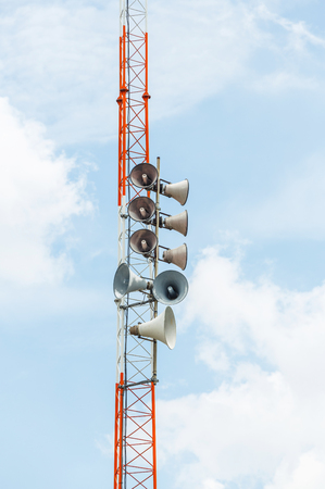 loud speakers: Old Horn loud speakers on steel frame tower for outdoor announcement