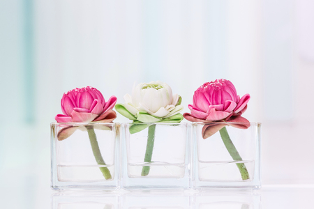 Lotus Flower Or Water Lily Decoration In Glass Vase On Table
