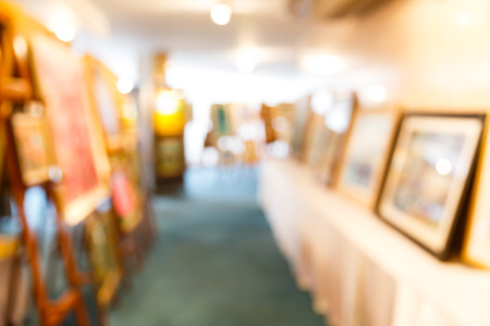 canvas art: Abstract blurred masterpiece creation in art gallery, exhibition show Stock Photo