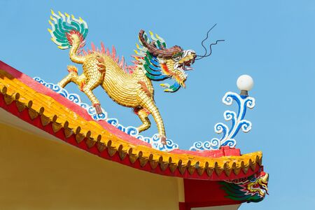 legendary: Colorful kirin statue in chinese temple, powerful oriental legendary creature animal