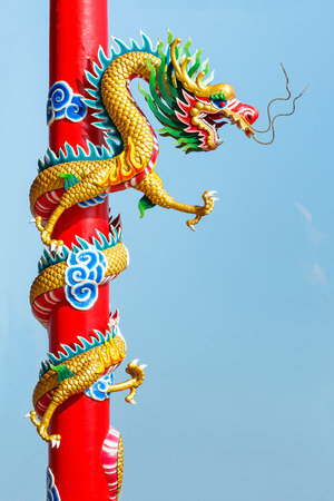 legendary: Colorful dragon statue in chinese temple, powerful oriental legendary creature animal