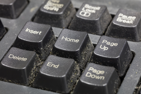 unhygienic: Close up dirty keyboard, unhygienic equipment in home or office