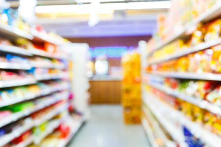 Abstract blur people shopping in supermarket or convenience store, urban lifestyle concept