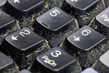 unsanitary: Close up dirty keyboard, unhygienic equipment in home or office