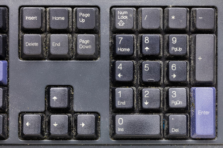 page down: Close up dirty keyboard, unhygienic equipment in home or office