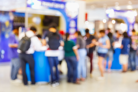 Abstract blur people registering before meeting begin, registration que