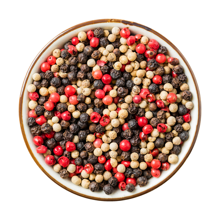 medley: Close up medley trio color peppercorn in ceramic dish isolated on white, include clipping path Stock Photo