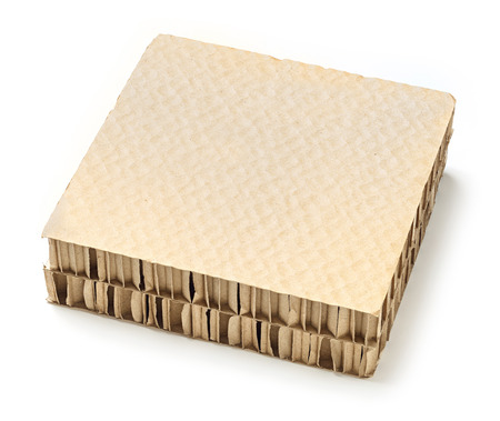 bracing: Honeycomb paper board used for cargo bracing or separators product in shipments, deep focus image Stock Photo