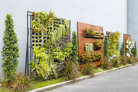 garden city: Beautiful vertical garden in city around office building Stock Photo