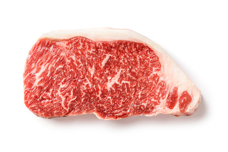 Close up 240 grams wagyu beef striploin steak isolated on white Archivio Fotografico
