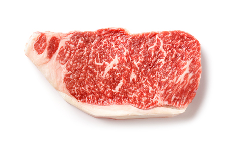 Close up 240 grams wagyu beef striploin steak isolated on white 스톡 콘텐츠