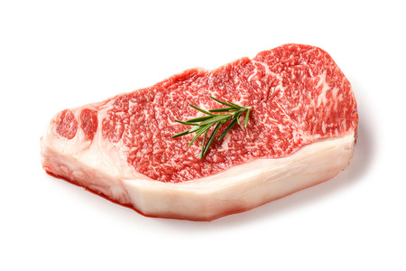 red gram: Close up 240 grams wagyu beef striploin steak with  rosemary isolated on white