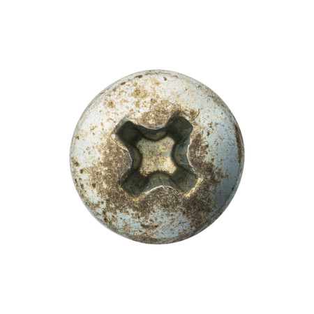 screw head: Close up old and rusty nut or screw head
