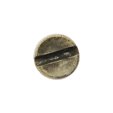 Cierre de tuerca viejo y oxidado o la cabeza de tornillo