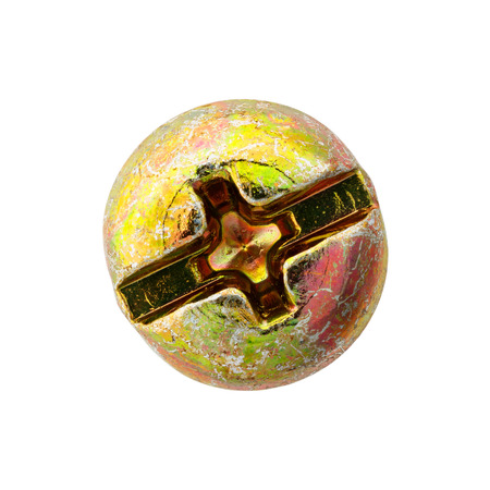 Close up old and rusty nut or screw head, include clipping path