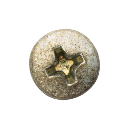 screw head: Close up old and rusty nut or screw head, include clipping pat Stock Photo