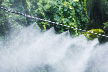 Mist nozzle water spraying system to make humidifier and cooling climate to reduce hot weather or for irrigation 스톡 콘텐츠