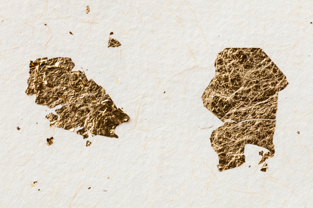 mulberry paper: Close up handmade or handcraft mulberry paper with gold leaf texture background