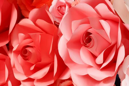 imitation: Beautiful rose background decoration from paper, artificial or imitation flower