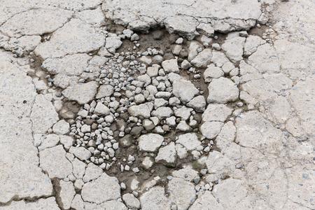 bumpy: Bumpy damaged concrete road, destroyed parking lot surface