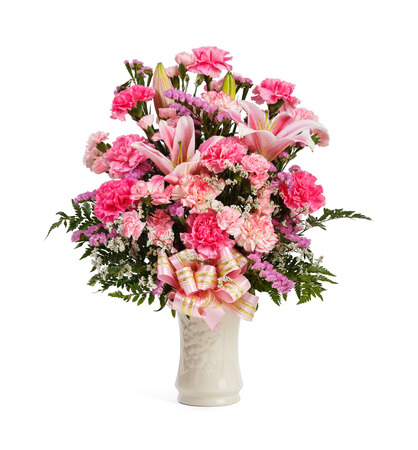 colourful tie: Close up statice carnation foot fern bouquet in ceramic vase isolated on white, Natural flower