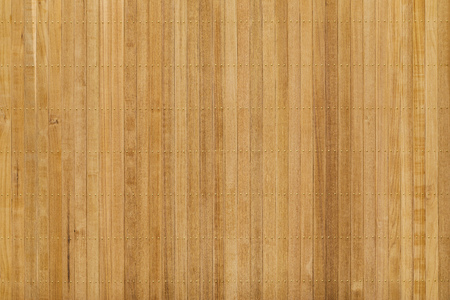Close up teak wood panel floor wall with brass nail Banco de Imagens