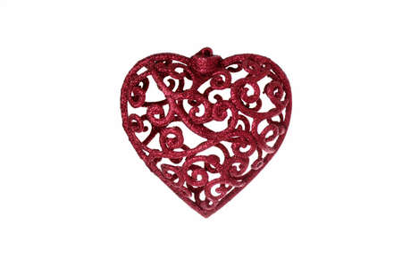 sparkly: Red Sparkly Christmas Heart Decoration Stock Photo